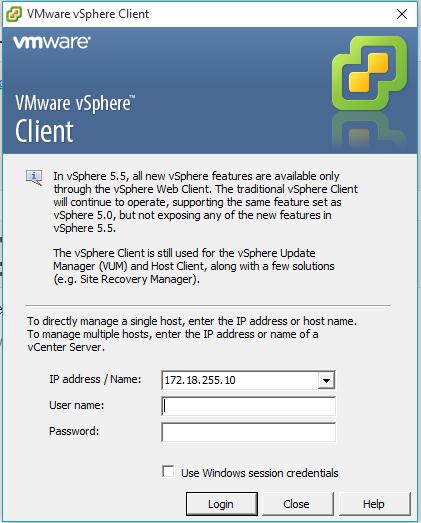 Вход в VMware vSphere