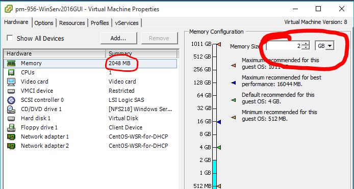 Объем оперативной памяти виртуальной машины