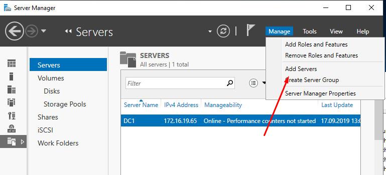 Добавление сервера