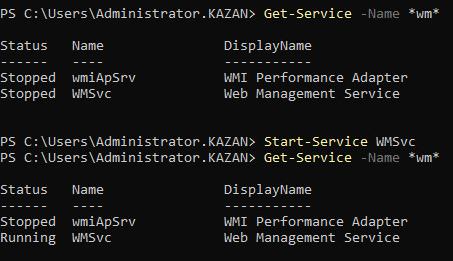 Запуск службы удаленного управления веб-сервером IIS