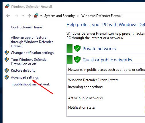 Настройка правил брандмауэра Windows Server 2016
