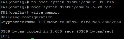 Изменение загрузочного образа Cisco ASA