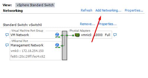 Add Networking ESXI