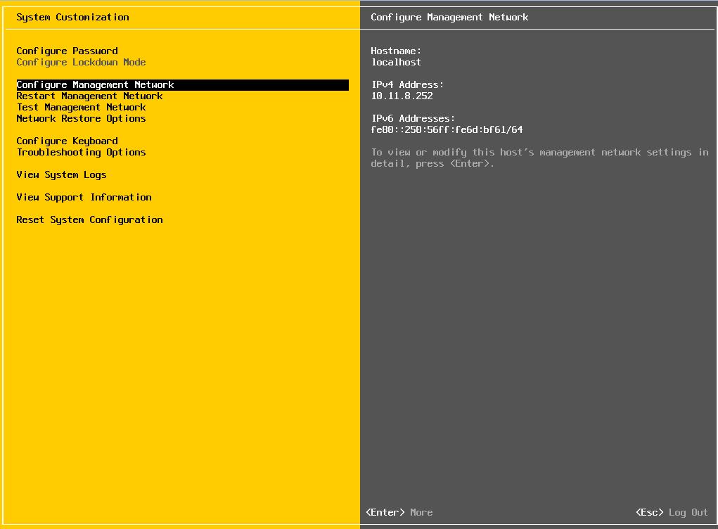 Проверка сетевых настроек гипервизора ESXi