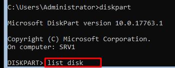 diskpart-список дисков