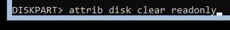 diskpart-Изменение атрибутов диска