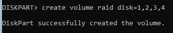 diskpart-создание RAID5
