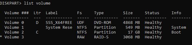 diskpart-Готовый RAID5